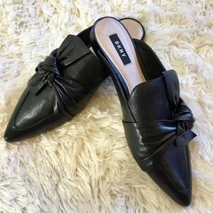 🆕DKNY slip on black leather pier mules size 10